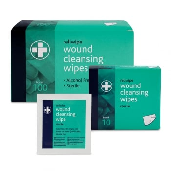 Reliwipe Wound Cleansing Wipes Box of 100