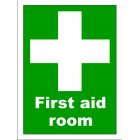 White Cross - First Aid Room 400 X 300mm Vinyl Sign
